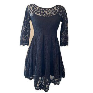 Free People Black Floral Mesh Lace Cocktail Dress